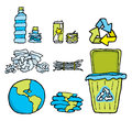 Environmental conservation cartoon with different recycling objects Royalty Free Stock Image