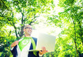 Environmental Conservative Businessman Working Laptop Woods Concept Royalty Free Stock Photo