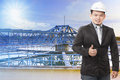 Environmental engineering man standing in front of waterworks heavy industry plant and sign good condition and clean Stock Photo