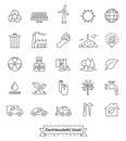 Environmental Issues Line icons set