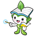 Environmental mascot the left hand guides and the right hand is holding a book nature fairy character design series Stock Photo