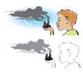 Environmental pollution cartoon on a boy trying to blow out the factory chimneys Stock Photo