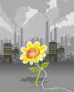 Environmental pollution cartoon on flower breathing using oxygen mask Royalty Free Stock Image