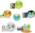 Environmental pollution icons Royalty Free Stock Photography