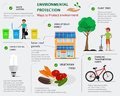 Environmental protection infographic. Flat concept of ways to protect environment. Ecology infographic Royalty Free Stock Photo