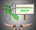 Environmental quality concept sustained by open hands