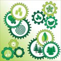 Environmental signs with tree and pine. Royalty Free Stock Photo