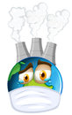 Environmental theme with earth and air pollution