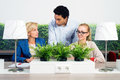 Environmentalists discussing in office multiethnic at desk Royalty Free Stock Photos