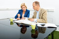 Environmentalists discussing over documents in office male and female at desk Royalty Free Stock Photos