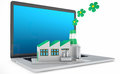 Environmentally friendly factory concept green on the laptop the importance of digitalizing in the infrastructures Royalty Free Stock Photos