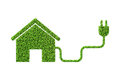 Environmentally friendly housing concept with green house - 3d r Royalty Free Stock Photo