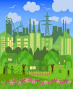 Environmentally symbols of urban lifestyles vector illustration Stock Photos