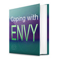 Envy concept illustration depicting a text book with an title white background Stock Images