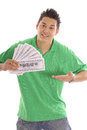 Envy me asian man on isolated background showing Stock Photos