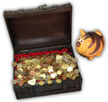 Envy piggy peeps in treasure chest with coins Royalty Free Stock Image