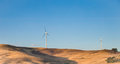 Eolic energy turbines in countryside Royalty Free Stock Photo