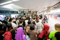 eople waiting for delay MTR train while Typhoon Mujigae moving o Royalty Free Stock Photo