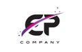 EP E P Black Letter Logo Design with Purple Magenta Swoosh
