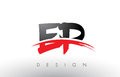 EP E P Brush Logo Letters with Red and Black Swoosh Brush Front