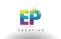 EP E P Colorful Letter Origami Triangles Design Vector.