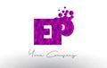 EP E P Dots Letter Logo with Purple Bubbles Texture.