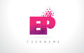 EP E P Letter Logo with Pink Purple Color and Particles Dots Des