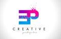 EP E P Letter Logo with Shattered Broken Blue Pink Texture Desig