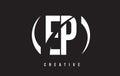 EP E P White Letter Logo Design with Black Background.