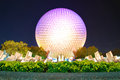 Epcot globe at night the landmark attraction spaceship earth in orlando Stock Images
