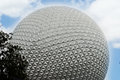 The Epcot golf ball with a beautiful blue sky. Royalty Free Stock Photo
