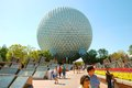 Epcot golf ball the trademark at the entrance of disney s theme park housing the time travelling attraction spaceship earth Royalty Free Stock Photos