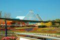 Epcot pyramid and monorail special displays—like blossoming gardens vibrant topiaries—add to the beauty of Royalty Free Stock Photography