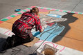 Ephemeral artist painter in the street of paris france april Royalty Free Stock Photos