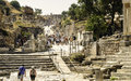 Ephesus ancient ruins turkey looking down a main street in the of the roman archaeological site in near kusadasi a popular tourist Royalty Free Stock Photo