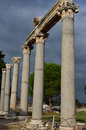Ephesus corinthian columns line the agora of ancient roman turkey Stock Photos