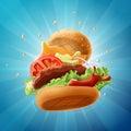 Epic Burger on Light Blue Background