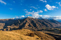 Epic mountain valley landscape. Aerial view Royalty Free Stock Photo
