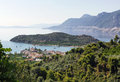 Epidavros greece view of the city of gulf and mountains Stock Photography