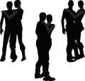 Eps vector illustration of a couple silhouette Royalty Free Stock Image