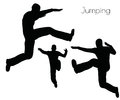 EPS 10 vector illustration of man in  Jumping  Action pose on white background Royalty Free Stock Photo