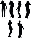 Eps vector illustration in silhouette of businessman duh head smack Stock Images