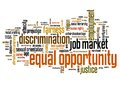 Equal opportunity issues and concepts word cloud illustration word collage concept gender employment words Stock Photos