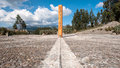 Equator line monument ecuador marks the point through which the passes cayambe Stock Photo
