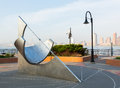 Equatorial sundial at jersey city exchange place nj usa may in in front of midtown new york on may the was designed by robert Royalty Free Stock Images