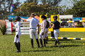 Equestrian arena riders checking course south african horse jumping championships held in durban south africa photo image of Stock Photography