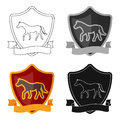 Equestrian blaze icon in cartoon style isolated on white background. Hippodrome and horse symbol stock vector