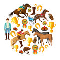 Equestrian Cartoon Round Composition Royalty Free Stock Photo