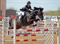 Equestrian horseback jumping obstacle girl in uniform on oxer Royalty Free Stock Photo