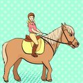 Equestrian sport for children. Isolated on pop art background. Vector illustratio. Comic book style imitation